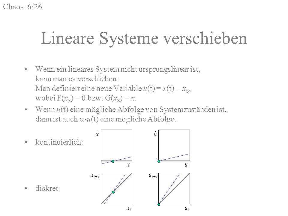 Chaos: 6/26 Lineare Systeme verschieben Wenn ein lineares System nicht ursprungslinear ist, kann man es verschieben: Man definiert eine neue Variable