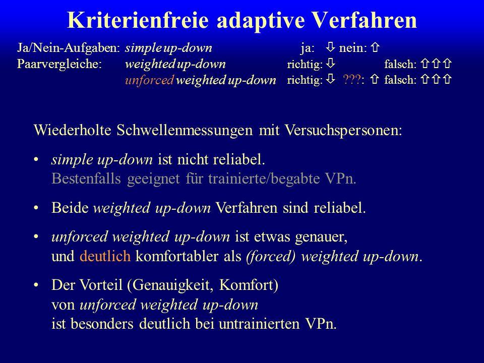 weighted up-down unforced weighted up-down Kriterienfreie adaptive Verfahren simple up-down richtig: ???: falsch: Ja/Nein-Aufgaben: Paarvergleiche: ja