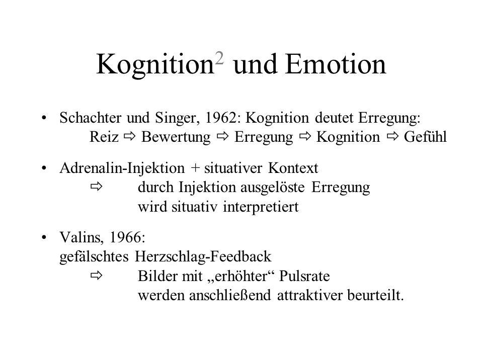 Kognition 1 und Emotion Bornstein, 1992: Einfluß auf Emotion stärker wenn unbewußt –bloße Darbietung von Gesichtern unter/überschwellig, dann: reale P