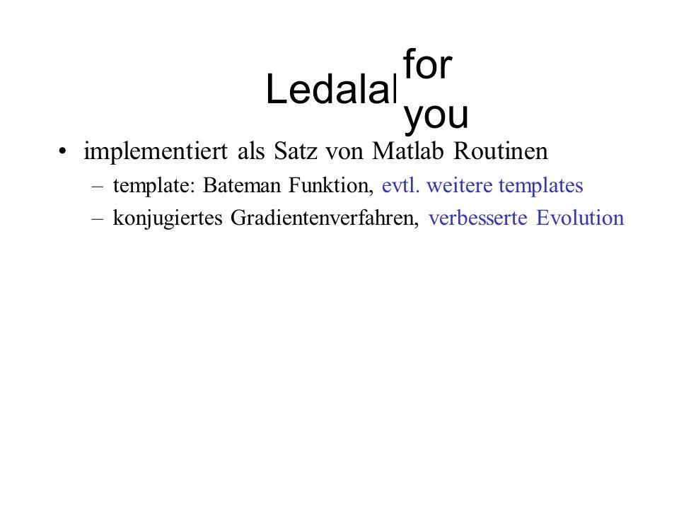 Ledalab implementiert als Satz von Matlab Routinen –template: Bateman Funktion –stochastisches Abstiegsverfahren, Evolution line search (Parabelfit) i