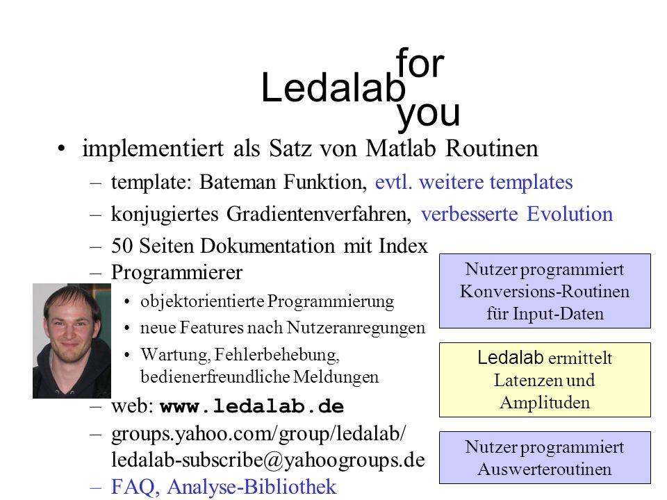 Ledalab implementiert als Satz von Matlab Routinen –template: Bateman Funktion, evtl. weitere templates –konjugiertes Gradientenverfahren, verbesserte