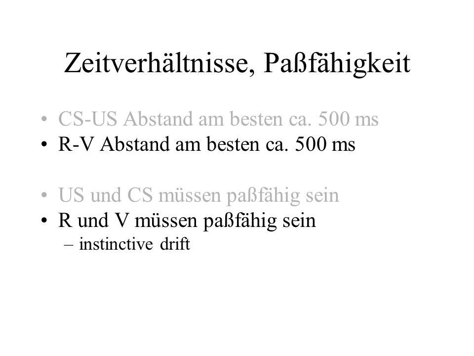 Zeitverhältnisse, Paßfähigkeit CS-US Abstand am besten ca. 500 ms R-V Abstand am besten ca. 500 ms US und CS müssen paßfähig sein R und V müssen paßfä