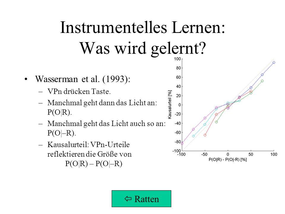 Instrumentelles Lernen: Was wird gelernt? Wasserman et al. (1993): –VPn drücken Taste. –Manchmal geht dann das Licht an: P(O|R). –Manchmal geht das Li