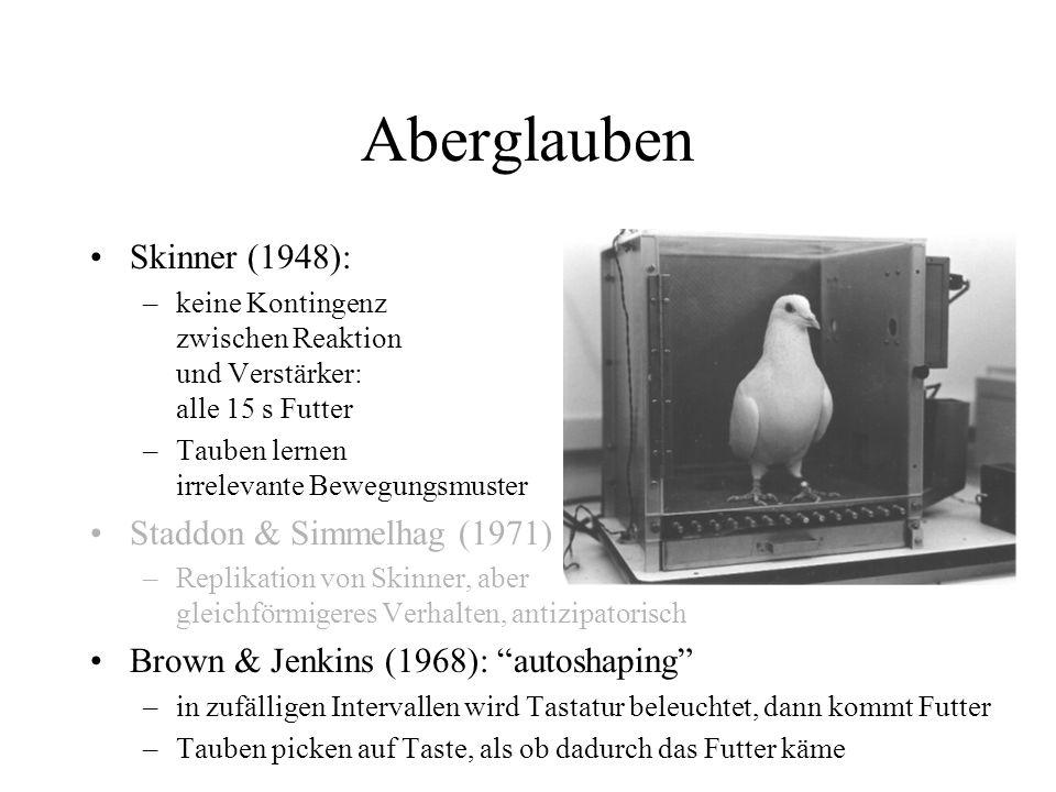 Aberglauben Skinner (1948): –keine Kontingenz zwischen Reaktion und Verstärker: alle 15 s Futter –Tauben lernen irrelevante Bewegungsmuster Staddon &