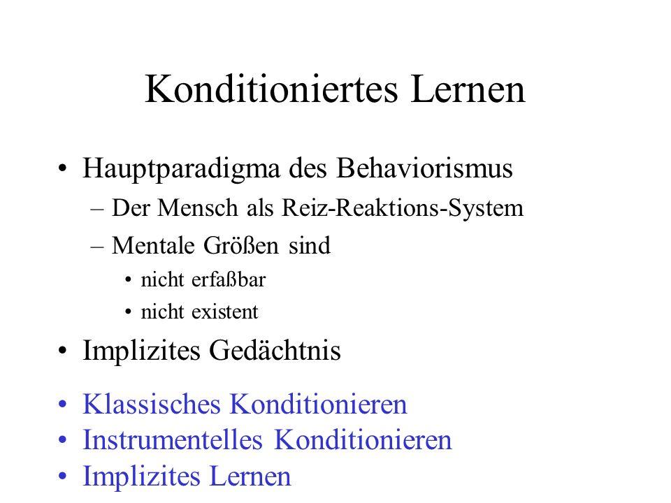 Konditioniertes Lernen Hauptparadigma des Behaviorismus –Der Mensch als Reiz-Reaktions-System –Mentale Größen sind nicht erfaßbar nicht existent Impli