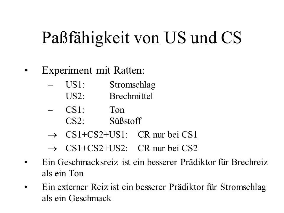 Paßfähigkeit von US und CS Experiment mit Ratten: –US1:Stromschlag US2:Brechmittel –CS1:Ton CS2:Süßstoff CS1+CS2+US1:CR nur bei CS1 CS1+CS2+US2:CR nur