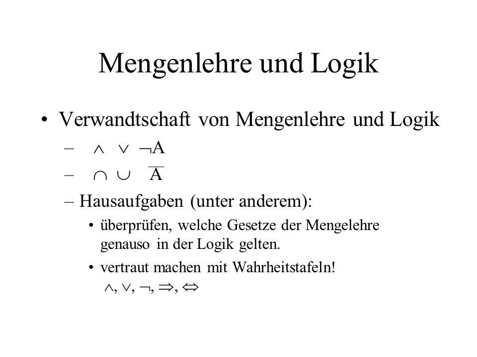 Mengenlehre und Logik Verwandtschaft von Mengenlehre und Logik – A –Hausaufgaben (unter anderem): überprüfen, welche Gesetze der Mengelehre genauso in