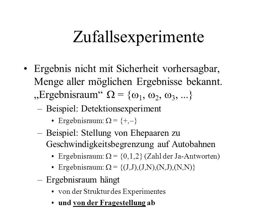 Zufallsexperimente Ergebnis nicht mit Sicherheit vorhersagbar, Menge aller möglichen Ergebnisse bekannt. Ergebnisraum = { 1, 2, 3,...} –Beispiel: Dete