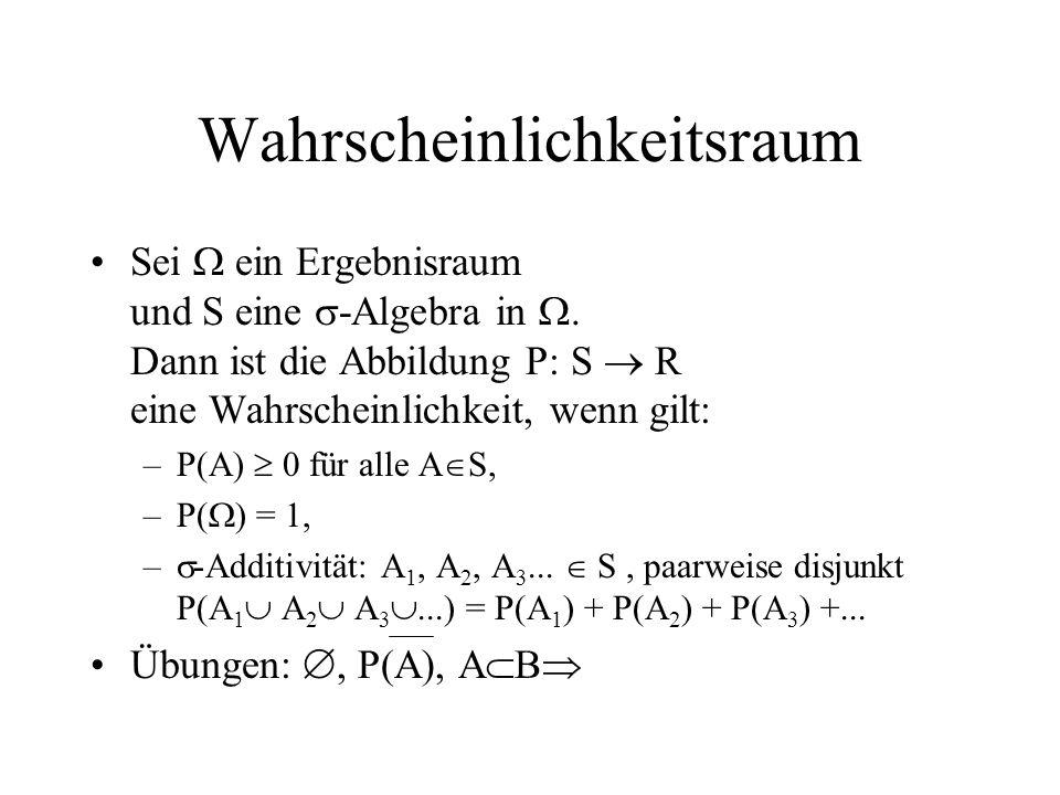 Wahrscheinlichkeitsraum Sei ein Ergebnisraum und S eine -Algebra in. Dann ist die Abbildung P: S R eine Wahrscheinlichkeit, wenn gilt: –P(A) 0 für all