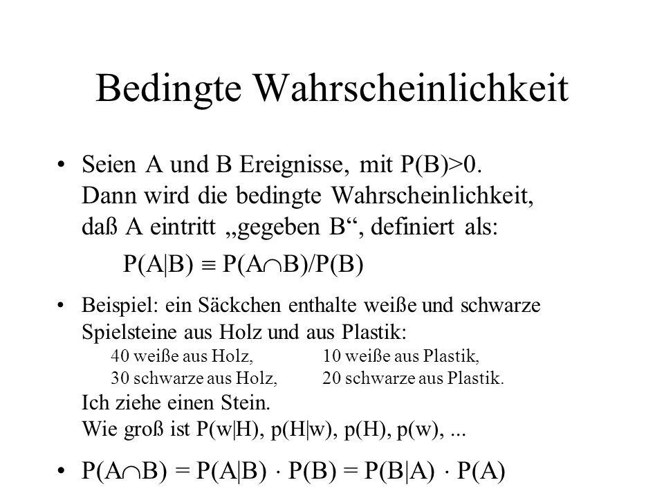 Bedingte Wahrscheinlichkeit Seien A und B Ereignisse, mit P(B)>0. Dann wird die bedingte Wahrscheinlichkeit, daß A eintritt gegeben B, definiert als:
