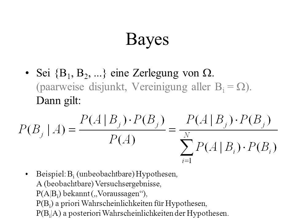 Bayes Sei {B 1, B 2,...} eine Zerlegung von. (paarweise disjunkt, Vereinigung aller B i = ). Dann gilt: Beispiel: B i (unbeobachtbare) Hypothesen, A (