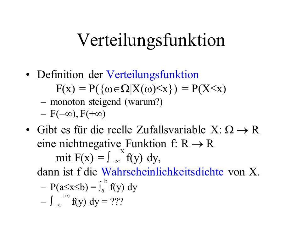 Verteilungsfunktion Definition der Verteilungsfunktion F(x) = P({ |X( ) x}) = P(X x) –monoton steigend (warum?) –F( ), F(+ ) Gibt es für die reelle Zu