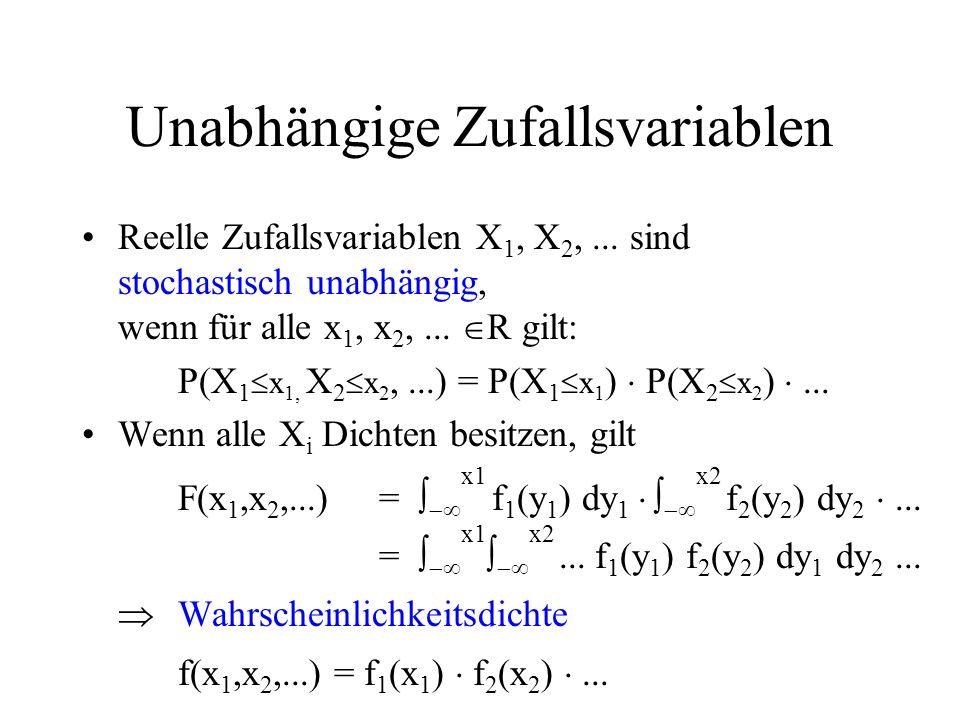 Unabhängige Zufallsvariablen Reelle Zufallsvariablen X 1, X 2,... sind stochastisch unabhängig, wenn für alle x 1, x 2,... R gilt: P(X 1 x 1, X 2 x 2,