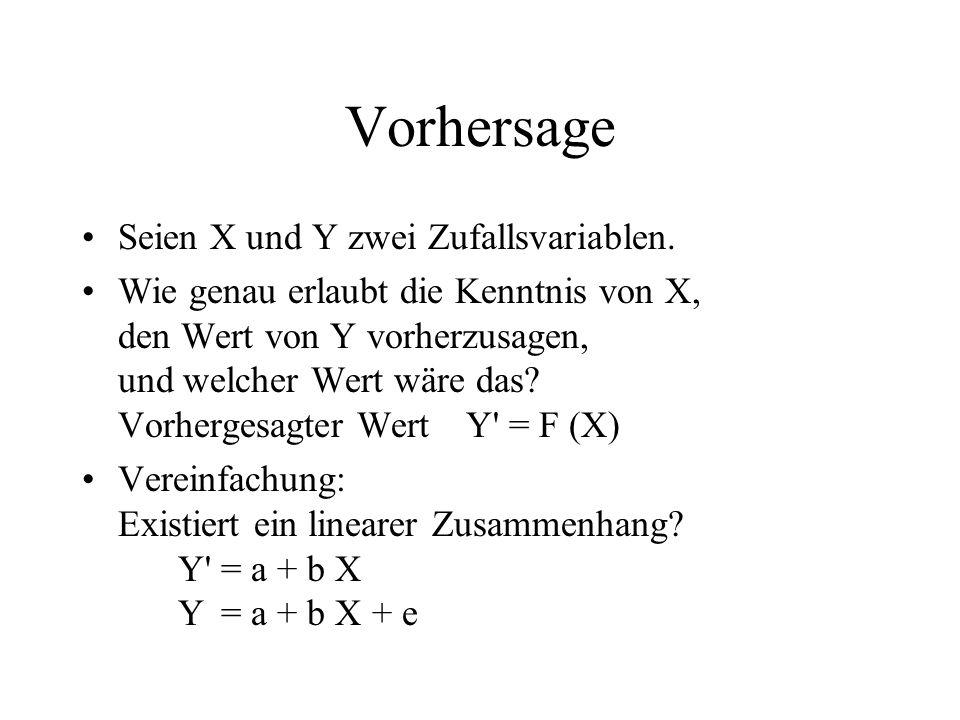 Vorhersage Seien X und Y zwei Zufallsvariablen. Wie genau erlaubt die Kenntnis von X, den Wert von Y vorherzusagen, und welcher Wert wäre das? Vorherg