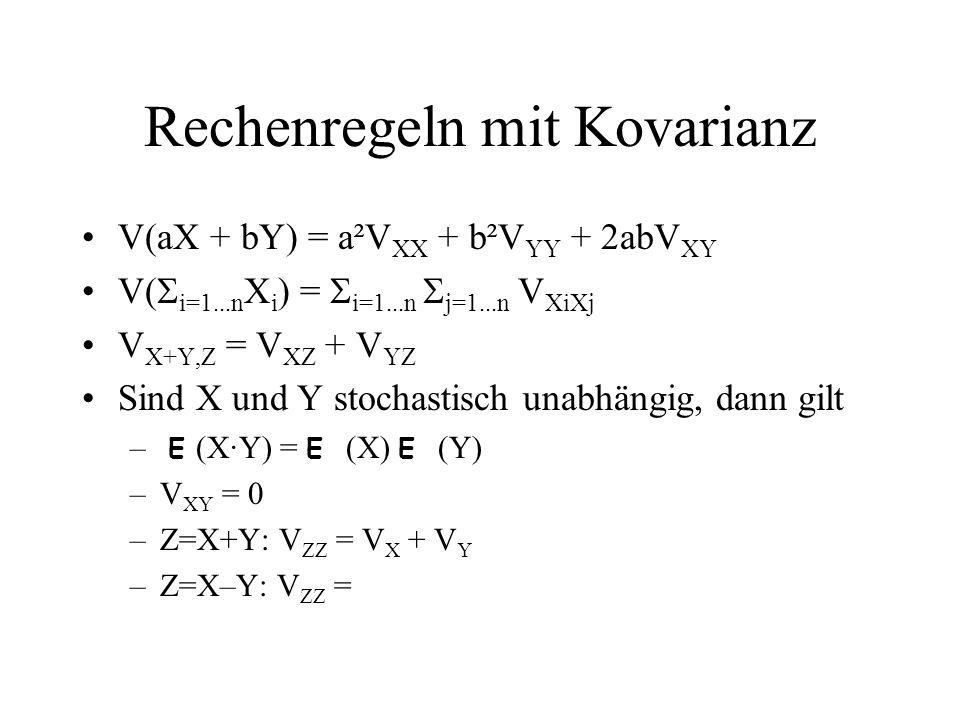 Rechenregeln mit Kovarianz V(aX + bY) = a²V XX + b²V YY + 2abV XY V( i=1...n X i ) = i=1...n j=1...n V XiXj V X+Y,Z = V XZ + V YZ Sind X und Y stochas