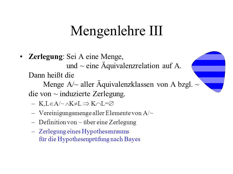 Mengenlehre III Zerlegung:Sei A eine Menge, und ~ eine Äquivalenzrelation auf A. Dann heißt die Menge A/~ aller Äquivalenzklassen von A bzgl. ~ die vo