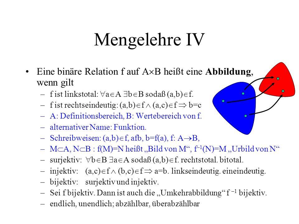Mengelehre IV Eine binäre Relation f auf A B heißt eine Abbildung, wenn gilt –f ist linkstotal: a A b B sodaß (a,b) f. –f ist rechtseindeutig: (a,b) f