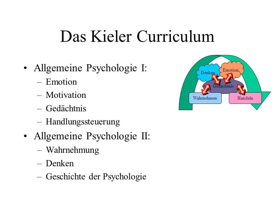Das Kieler Curriculum Allgemeine Psychologie I: –Emotion –Motivation –Gedächtnis –Handlungssteuerung Allgemeine Psychologie II: –Wahrnehmung –Denken –