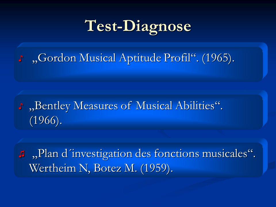Test-Diagnose Gordon Musical Aptitude Profil. (1965). Gordon Musical Aptitude Profil. (1965). Bentley Measures of Musical Abilities. (1966).Bentley Me
