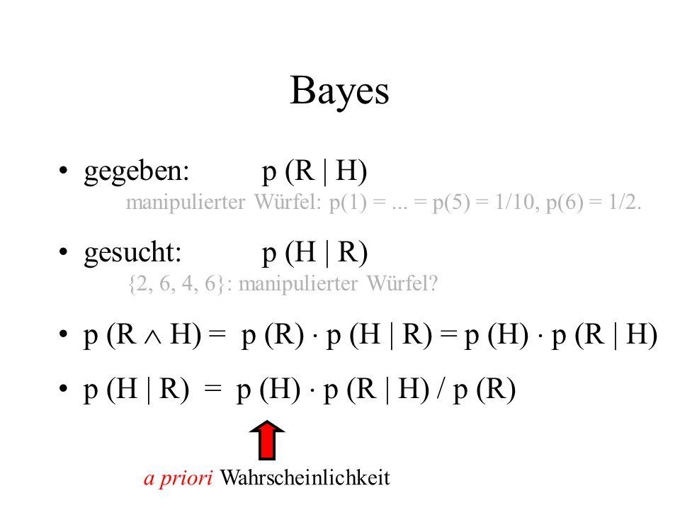 Bayes gegeben:p (R | H) manipulierter Würfel: p(1) =... = p(5) = 1/10, p(6) = 1/2. gesucht:p (H | R) {2, 6, 4, 6}: manipulierter Würfel? p (R H) = p (