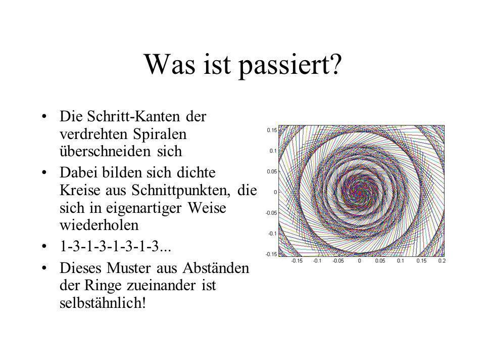 Was ist passiert? Die Schritt-Kanten der verdrehten Spiralen überschneiden sich Dabei bilden sich dichte Kreise aus Schnittpunkten, die sich in eigena