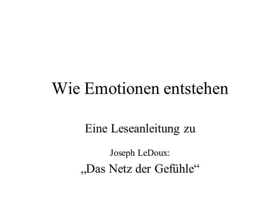 Wie Emotionen entstehen Eine Leseanleitung zu Joseph LeDoux: Das Netz der Gefühle