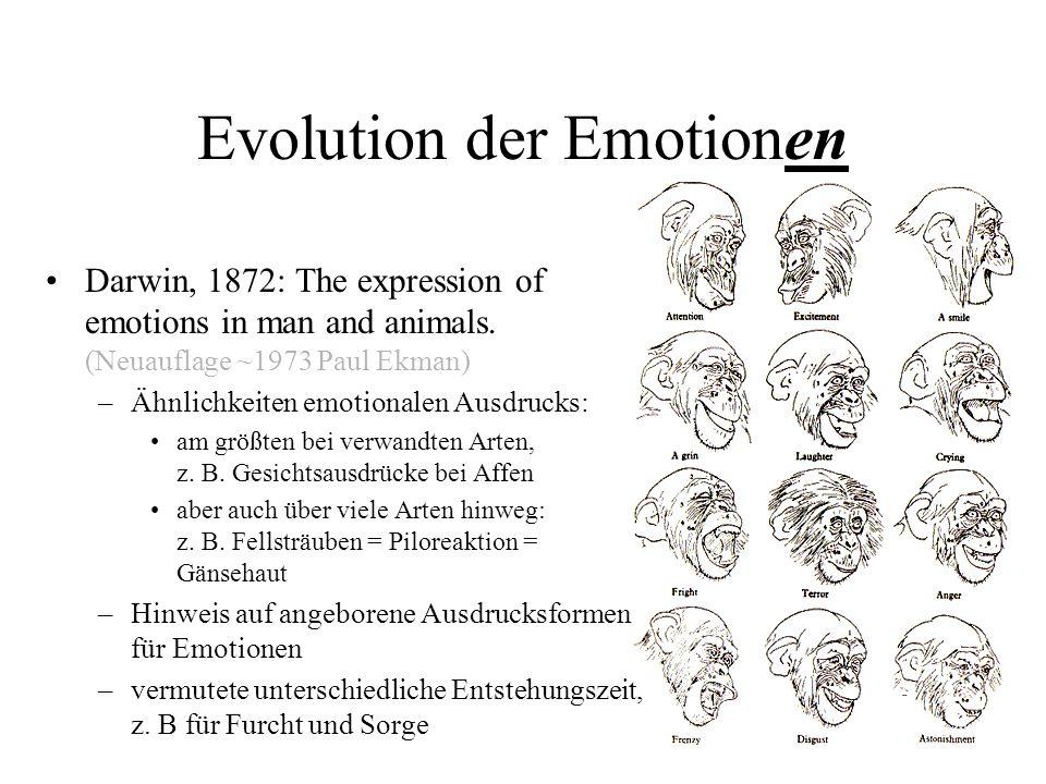 Evolution der Emotionen Darwin, 1872: The expression of emotions in man and animals. (Neuauflage ~1973 Paul Ekman) –Ähnlichkeiten emotionalen Ausdruck