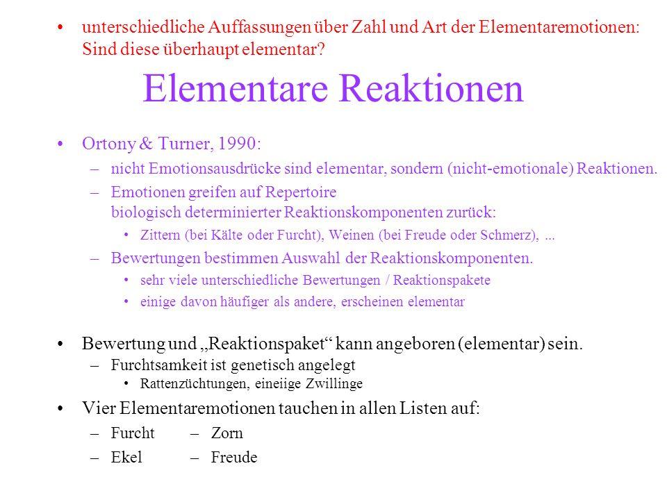 Elementare Reaktionen Ortony & Turner, 1990: –nicht Emotionsausdrücke sind elementar, sondern (nicht-emotionale) Reaktionen. –Emotionen greifen auf Re