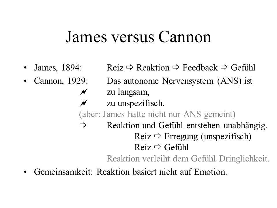 James versus Cannon James, 1894:Reiz Reaktion Feedback Gefühl Cannon, 1929:Das autonome Nervensystem (ANS) ist zu langsam, zu unspezifisch. (aber: Jam