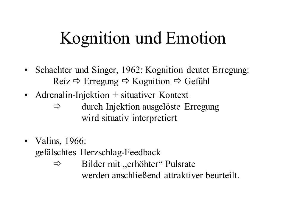 Kognition und Emotion Schachter und Singer, 1962: Kognition deutet Erregung: Reiz Erregung Kognition Gefühl Adrenalin-Injektion + situativer Kontext d