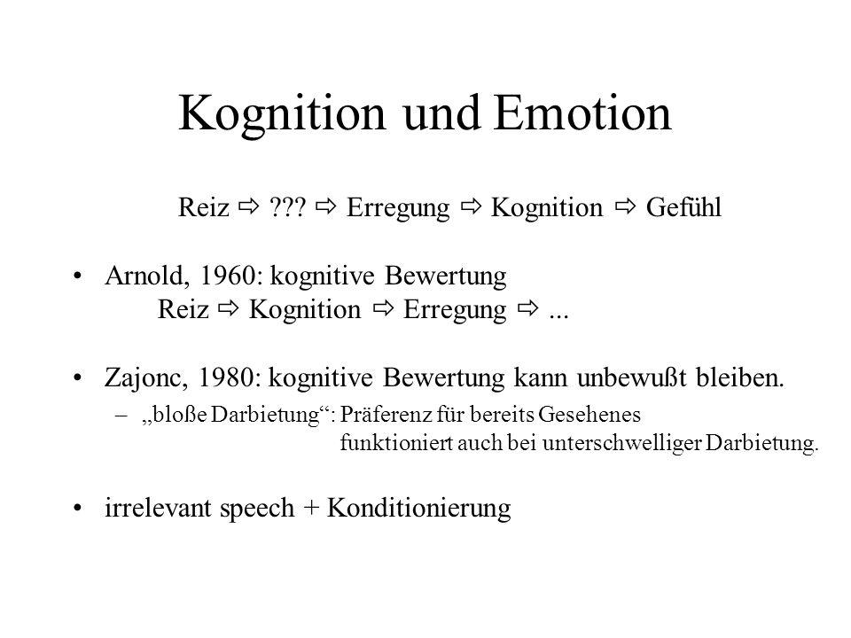 Kognition und Emotion Reiz ??? Erregung Kognition Gefühl Arnold, 1960: kognitive Bewertung Reiz Kognition Erregung... Zajonc, 1980: kognitive Bewertun