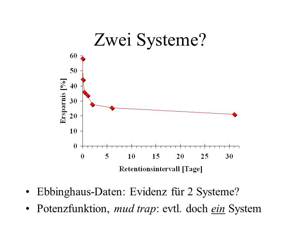 Zwei Systeme? Ebbinghaus-Daten: Evidenz für 2 Systeme? Potenzfunktion, mud trap: evtl. doch ein System