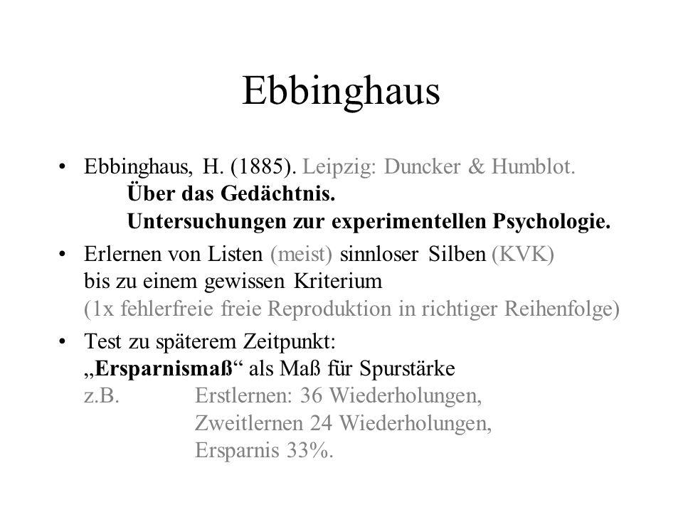 Ebbinghaus Ebbinghaus, H. (1885). Leipzig: Duncker & Humblot. Über das Gedächtnis. Untersuchungen zur experimentellen Psychologie. Erlernen von Listen