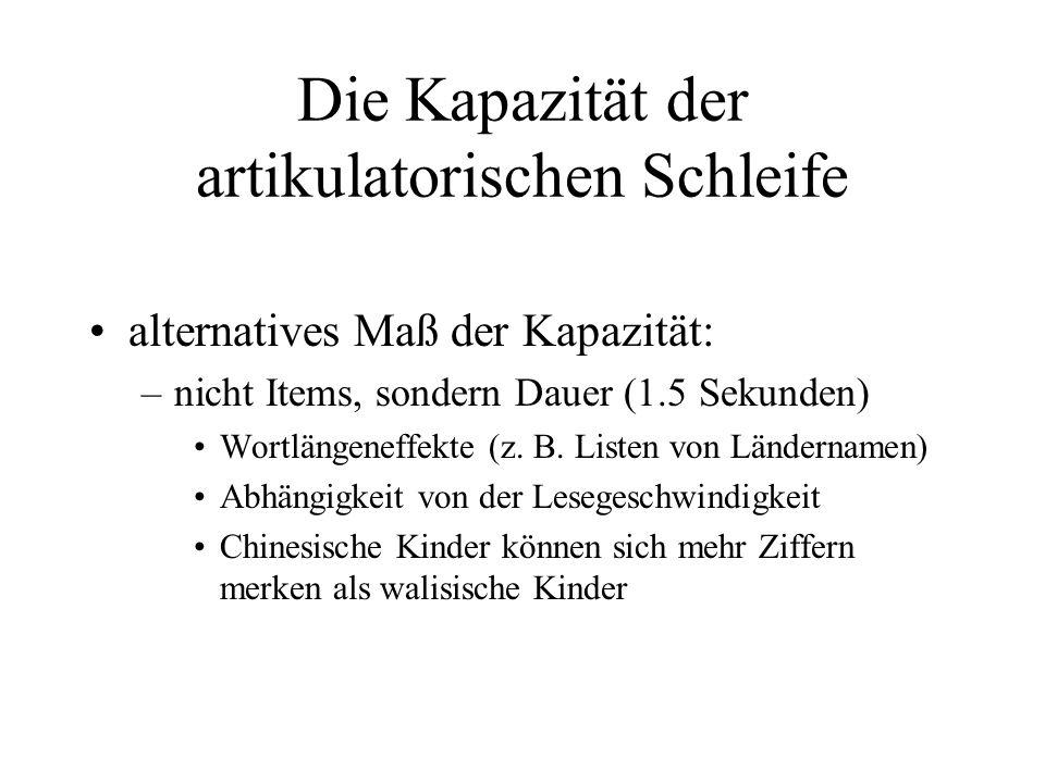 Die Kapazität der artikulatorischen Schleife alternatives Maß der Kapazität: –nicht Items, sondern Dauer (1.5 Sekunden) Wortlängeneffekte (z. B. Liste
