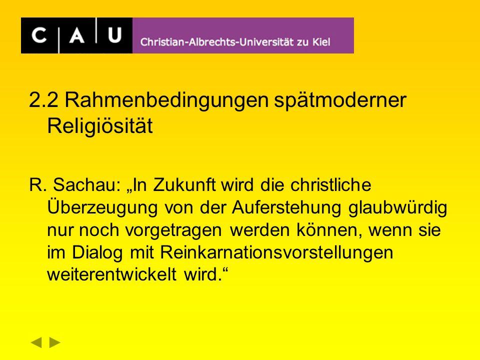2.2 Rahmenbedingungen spätmoderner Religiösität R.