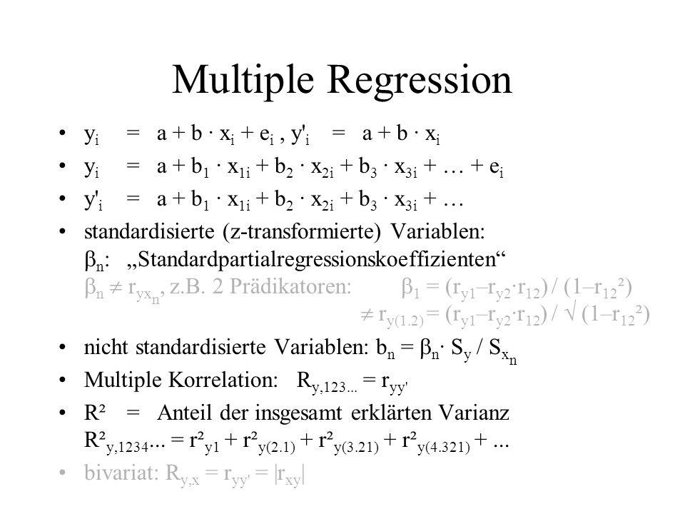 Multiple Regression y i = a + b · x i + e i, y' i = a + b · x i y i = a + b 1 · x 1i + b 2 · x 2i + b 3 · x 3i + … + e i y' i = a + b 1 · x 1i + b 2 ·