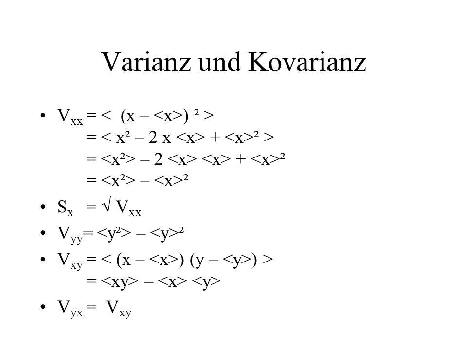 Varianz und Kovarianz V xx = ) ² > = + ² > = – 2 + ² = – ² S x = V xx V yy = – ² V xy = ) (y – ) > = – V yx = V xy