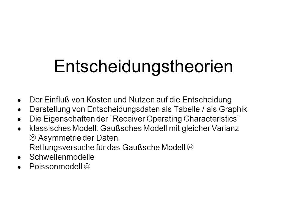 Niedrigschwellenmodell (Luce, 1963) 3 Parameter: p(D|R)(Schar) p(D|S+R)(Kurve) Kriterium (Punkt) perfekte Leistung unmöglich
