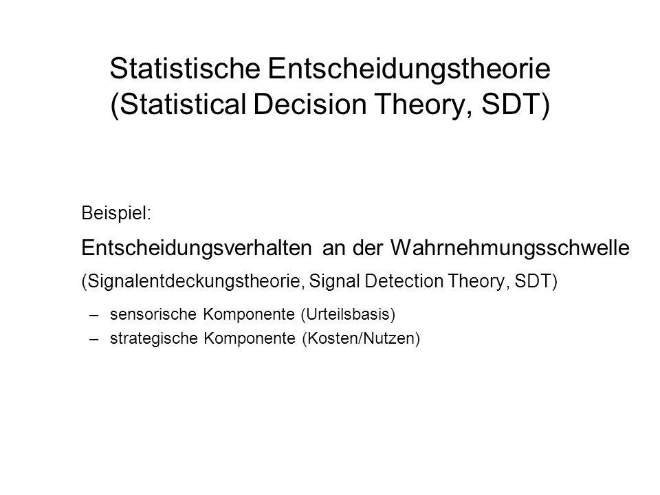 Statistische Entscheidungstheorie (Statistical Decision Theory, SDT) Beispiel: Entscheidungsverhalten an der Wahrnehmungsschwelle (Signalentdeckungsth