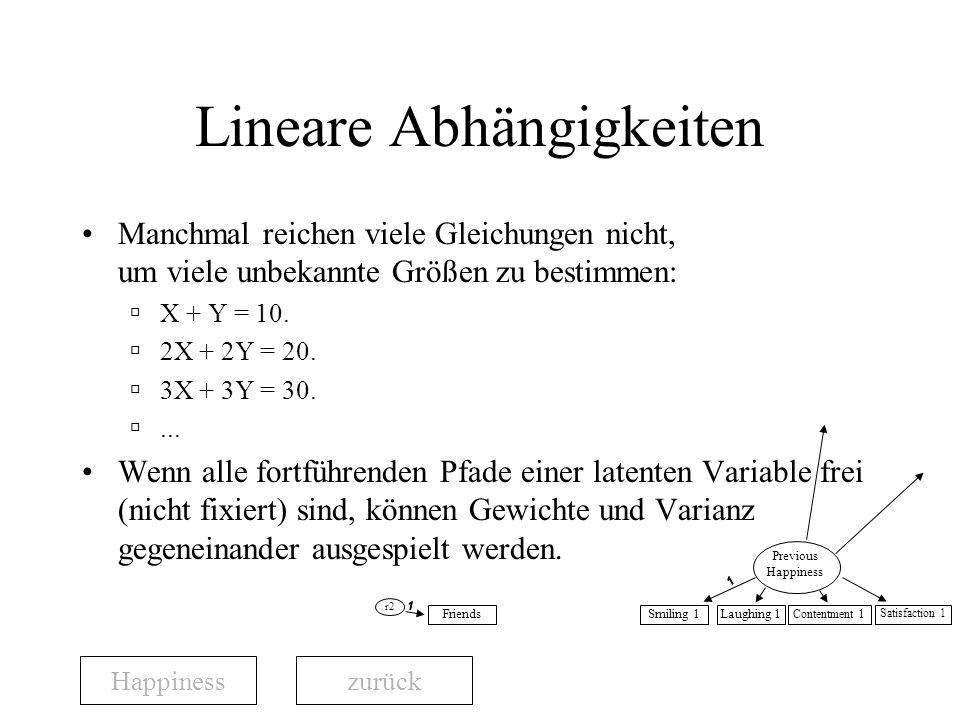 Lineare Abhängigkeiten Manchmal reichen viele Gleichungen nicht, um viele unbekannte Größen zu bestimmen: X + Y = 10.