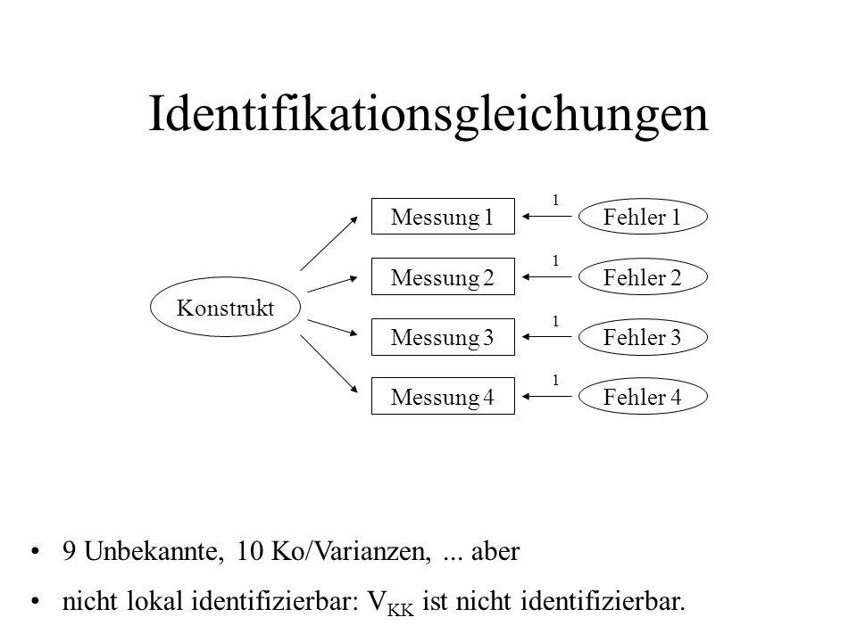 Identifikationsgleichungen nicht lokal identifizierbar: V KK ist nicht identifizierbar.