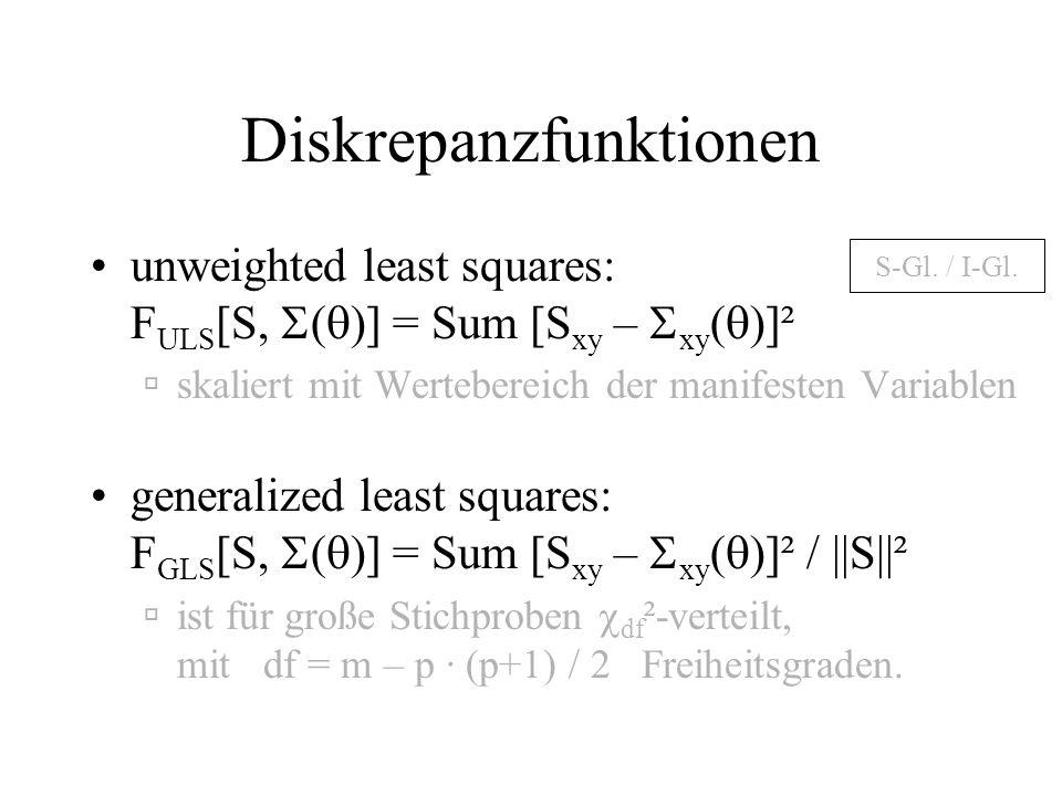 Diskrepanzfunktionen unweighted least squares: F ULS [S, ( )] = Sum [S xy – xy ( )]² skaliert mit Wertebereich der manifesten Variablen S-Gl.