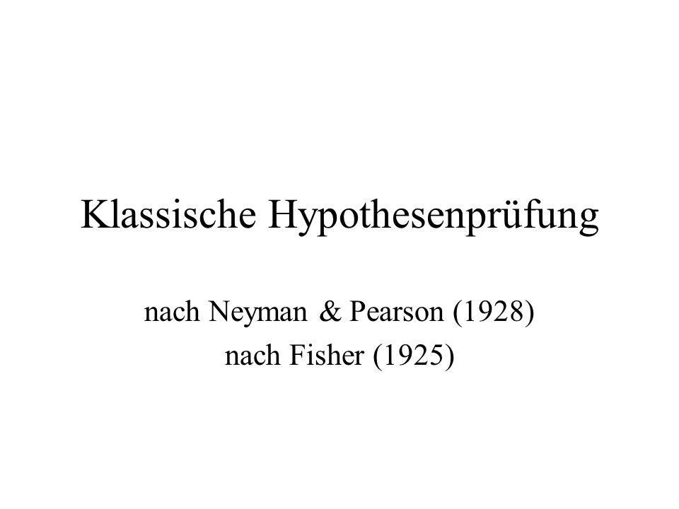 Klassische Hypothesenprüfung nach Neyman & Pearson (1928) nach Fisher (1925)