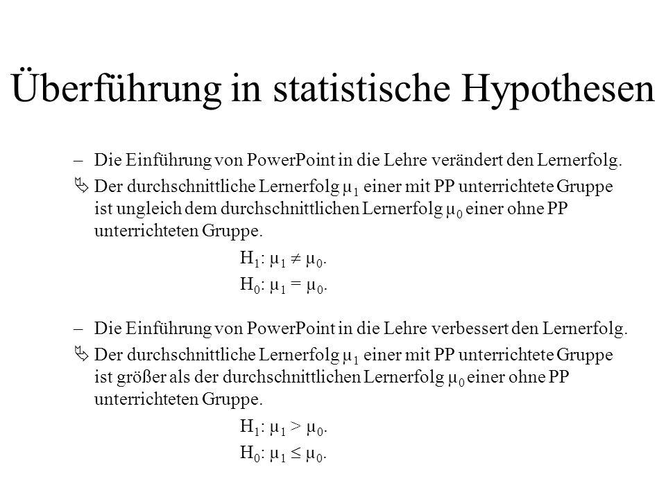 Überführung in statistische Hypothesen –Die Einführung von PowerPoint in die Lehre verändert den Lernerfolg. Der durchschnittliche Lernerfolg µ 1 eine