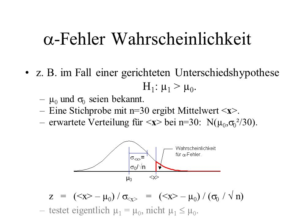 -Fehler Wahrscheinlichkeit z. B. im Fall einer gerichteten Unterschiedshypothese H 1 : µ 1 > µ 0. –µ 0 und 0 seien bekannt. –Eine Stichprobe mit n=30