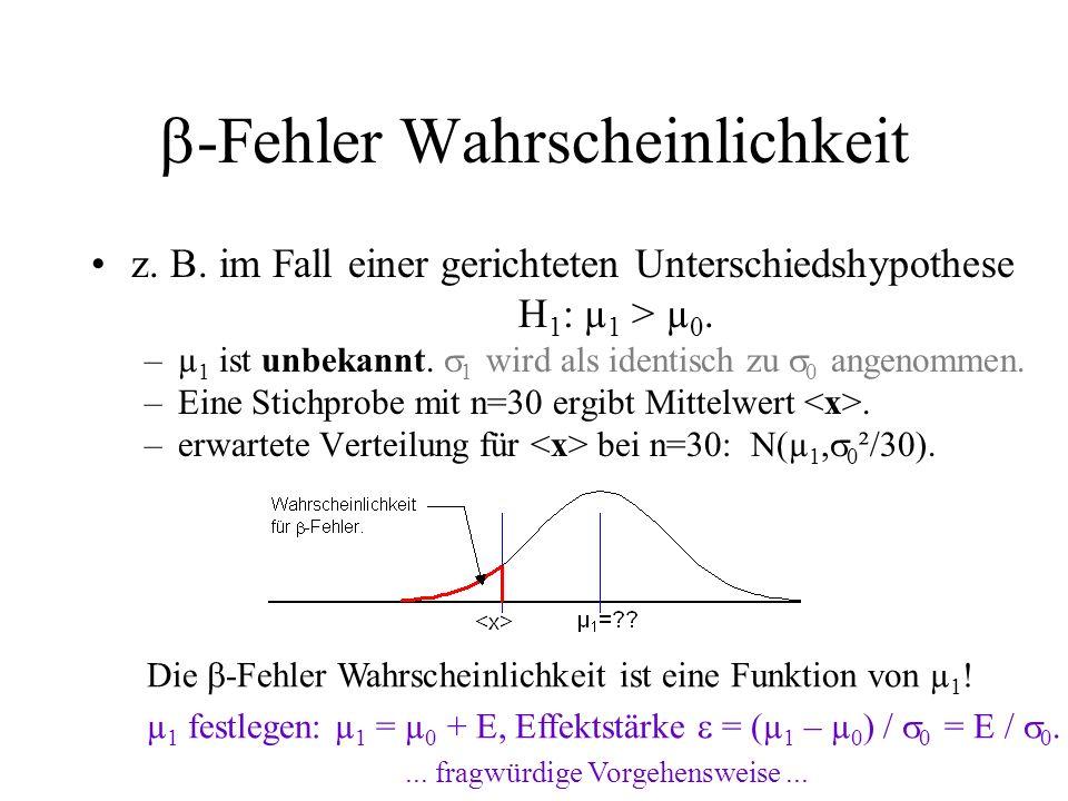 z. B. im Fall einer gerichteten Unterschiedshypothese H 1 : µ 1 > µ 0. –µ 1 ist unbekannt. 1 wird als identisch zu 0 angenommen. –Eine Stichprobe mit
