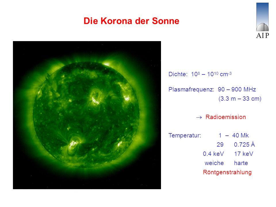 Die Korona der Sonne Dichte: 10 8 – 10 10 cm -3 Plasmafrequenz: 90 – 900 MHz (3.3 m – 33 cm) Radioemission Temperatur: 1 – 40 Mk 29 0.725 Å 0.4 keV 17