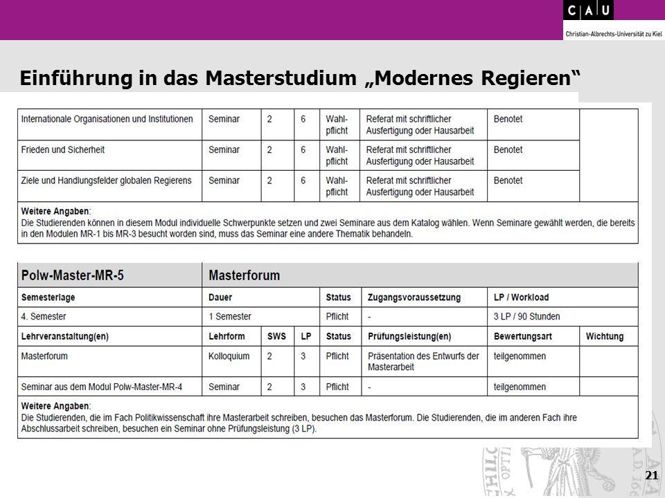 21 Einführung in das Masterstudium Modernes Regieren