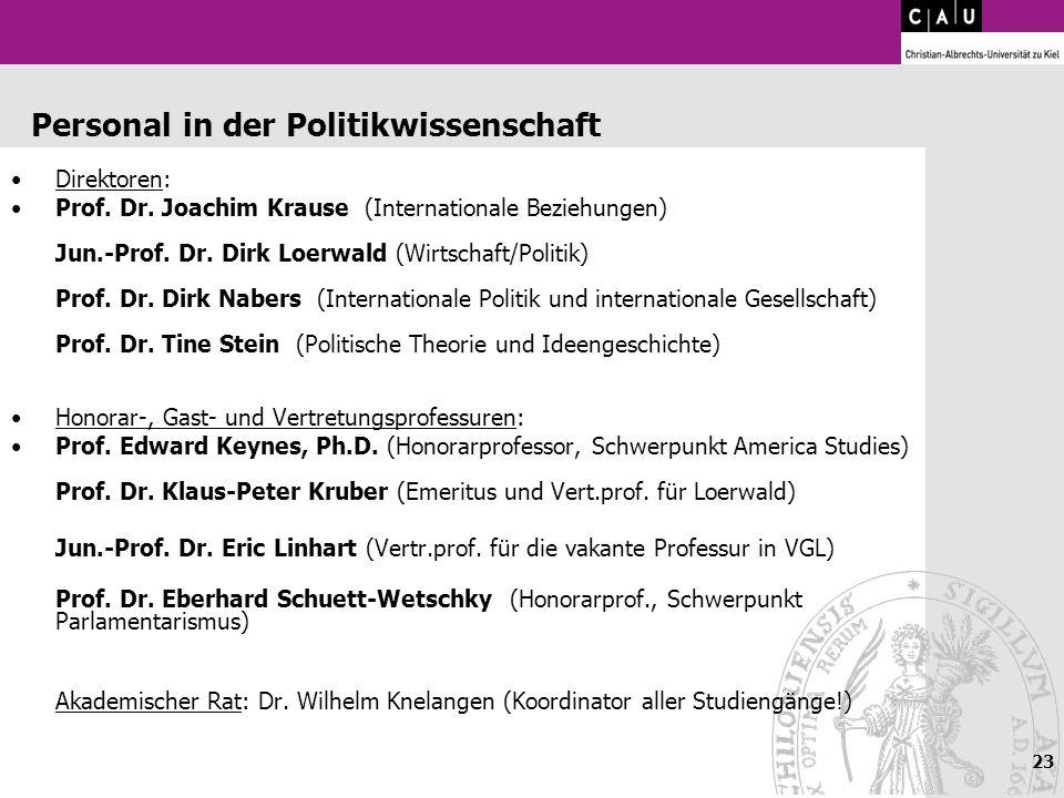 23 Personal in der Politikwissenschaft Direktoren: Prof. Dr. Joachim Krause (Internationale Beziehungen) Jun.-Prof. Dr. Dirk Loerwald (Wirtschaft/Poli
