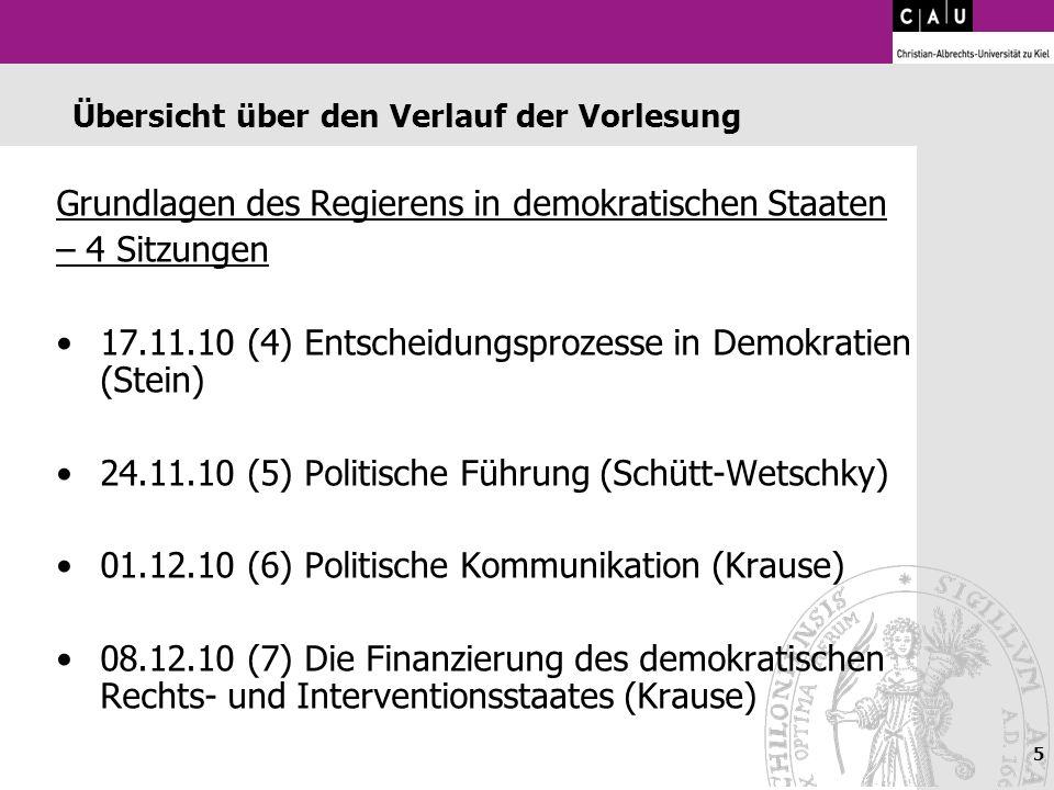 5 Übersicht über den Verlauf der Vorlesung Grundlagen des Regierens in demokratischen Staaten – 4 Sitzungen 17.11.10 (4) Entscheidungsprozesse in Demo